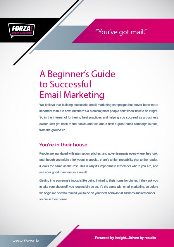 Email marketing guide design by Forza! Cork