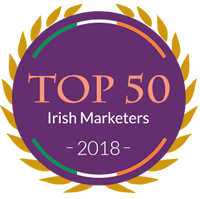 top irish marketers dark color badge